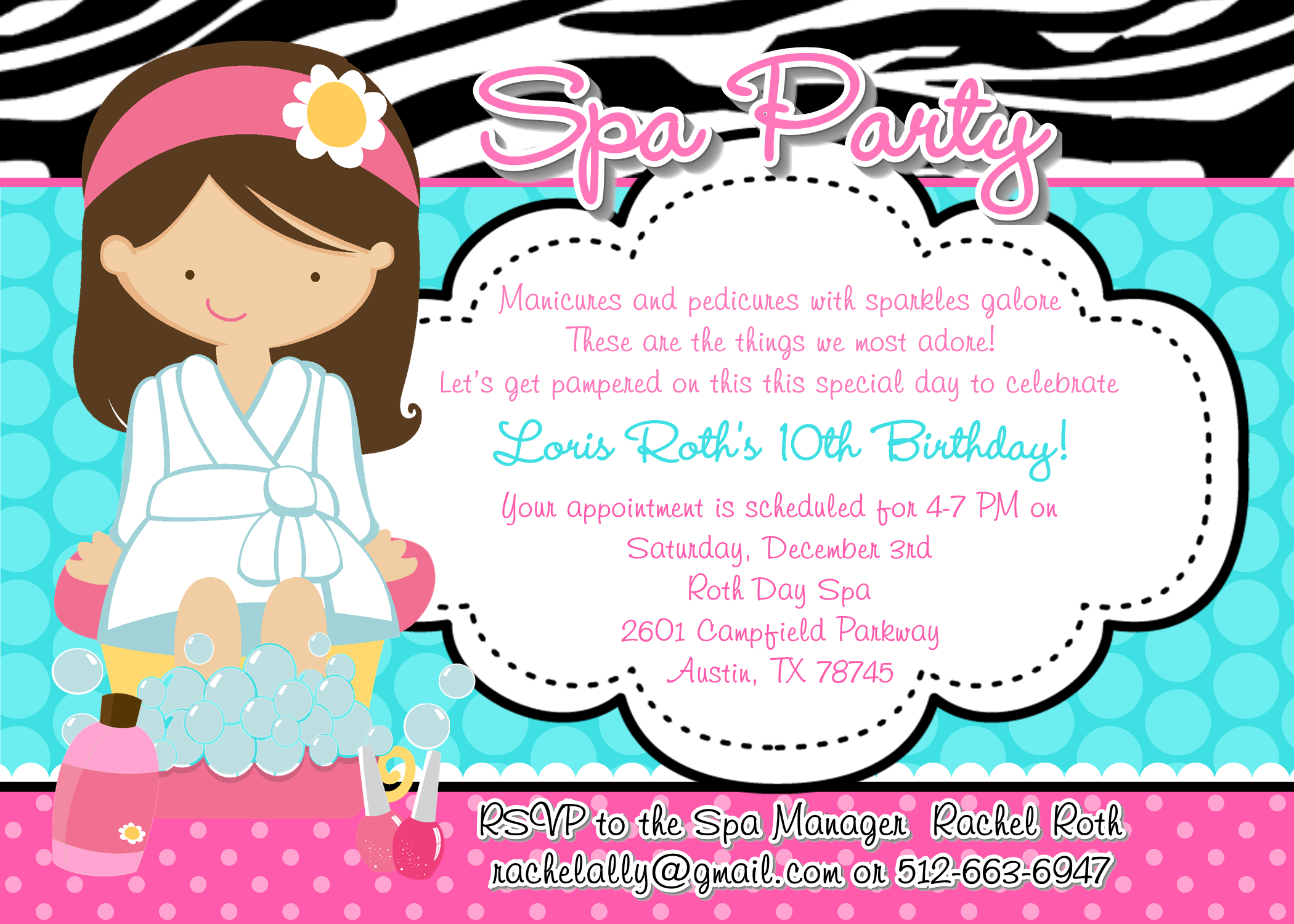 How to Throw an AMAZING Spa Party Shimmy Shimmy Cake – Girls Spa Birthday Party Invitations