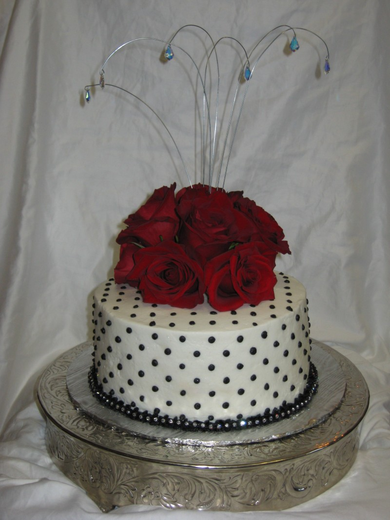 Black and Red Cake with Crystals