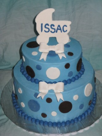 Baby Shower - Blue and Brown Cake