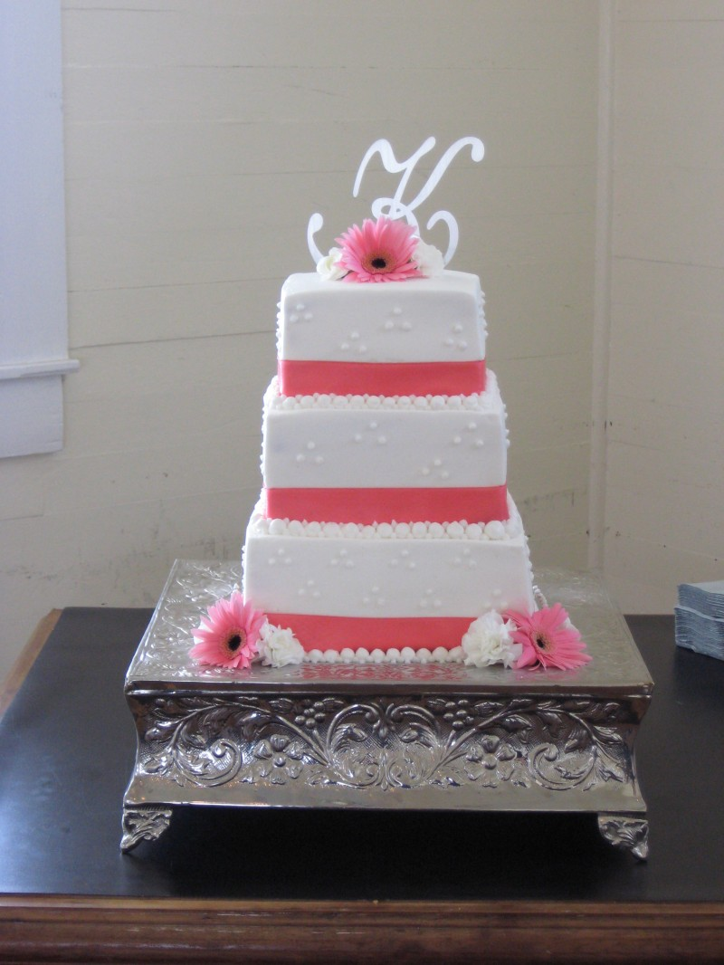Square Ribbon Wedding Cake