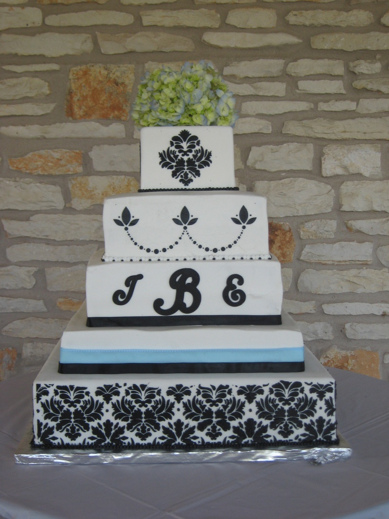 Blue and Black Damask Wedding Cake